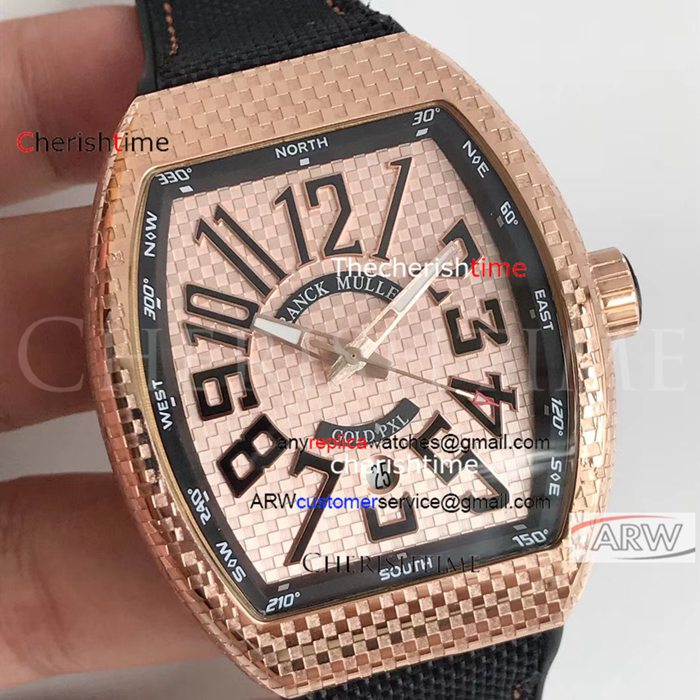 Franck Muller Rose Gold Case Black Strap Copy Swiss Watch
