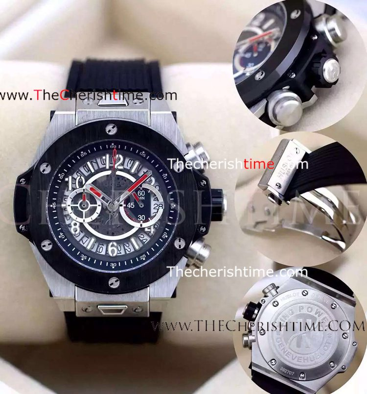 Copy Hublot King Power Stainless Steel Black Rubber Watch