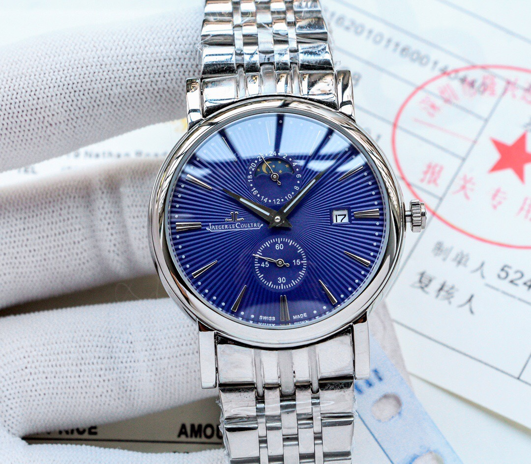 Copy Jaeger-LeCoultre Blue Dial Stainless Steel Watch