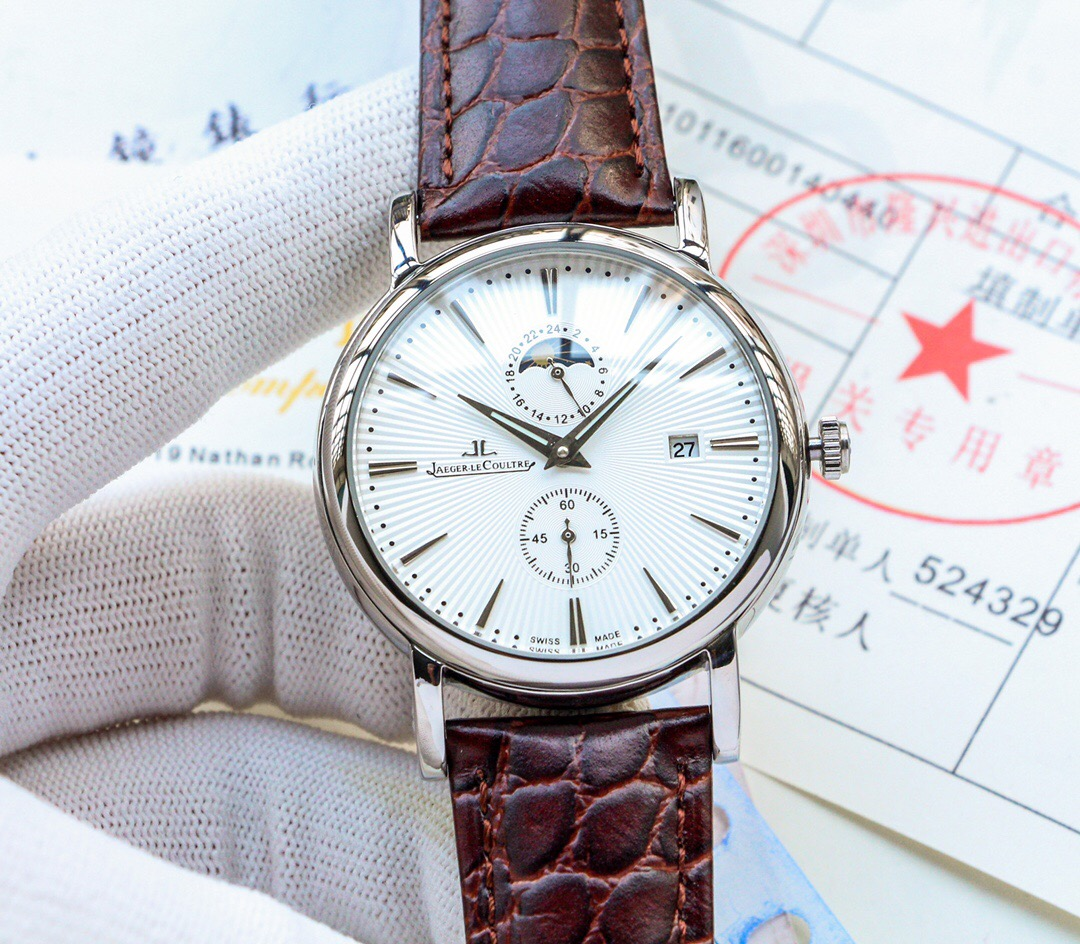 Copy Jaeger-LeCoultre White Dial Brown Leather Watch