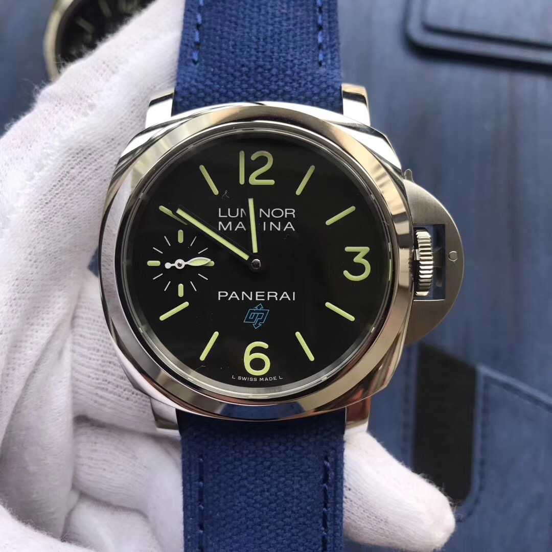 Copy Panerai Black Dial Blue Nylon Strap 316L Watch