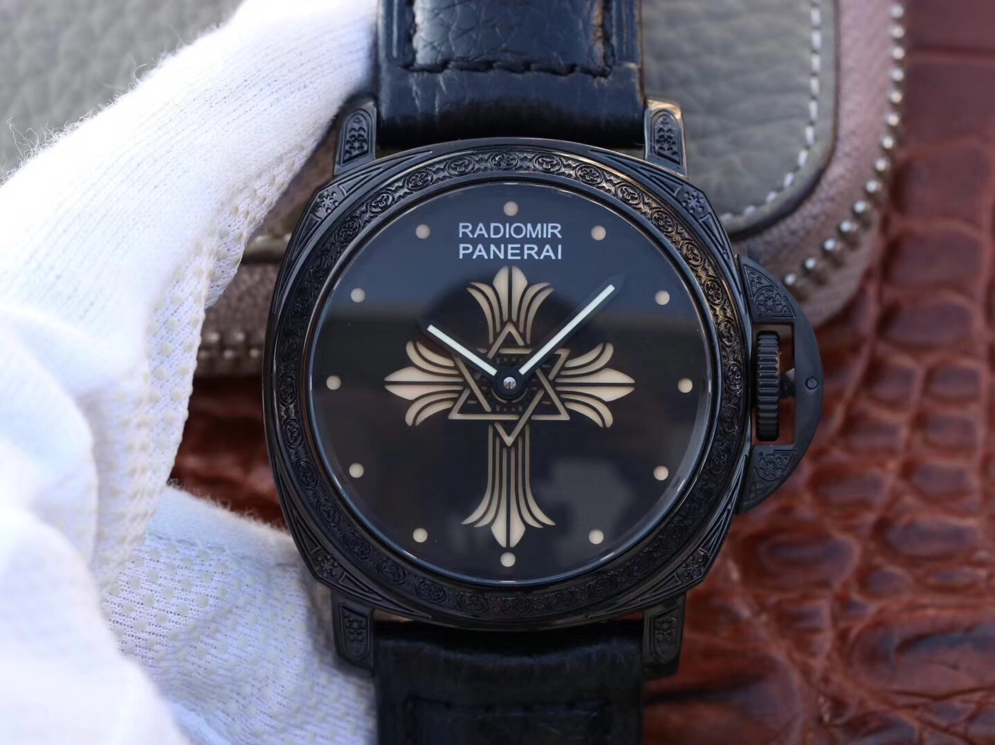 Copy Panerai Black Dial Carving Black Case Swiss Watch