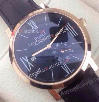 Copy Piaget Black Dial Rose Gold Case Leather Strap Watch