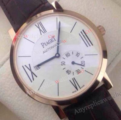 Copy Piaget Watch Brown Leather Strap Rose Gold Case
