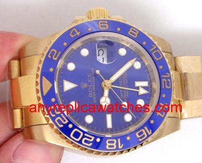 ALL GOLD GMT-MASTER II w/ BLUE CERAMIC BEZEL