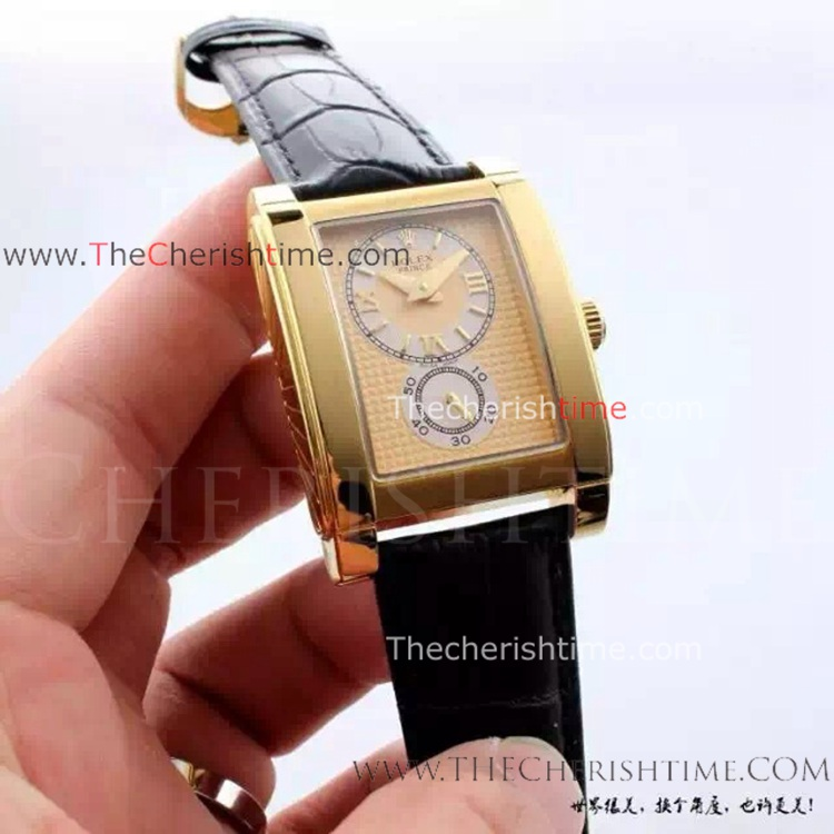 Copy Rolex Cellini Prince Watch Gold Dial Black Leather Band