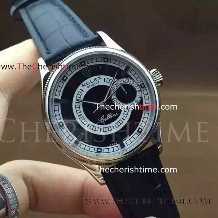 Copy Rolex Cellini Stainless Steel Black Dial Watch