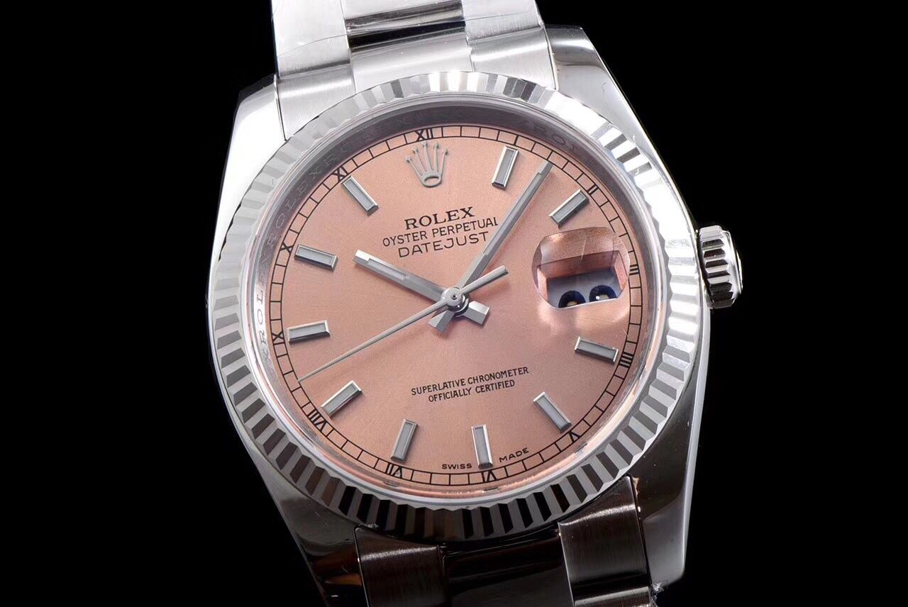 Copy Rolex Rose Gold Dial White Carved Bezel Swiss Watch