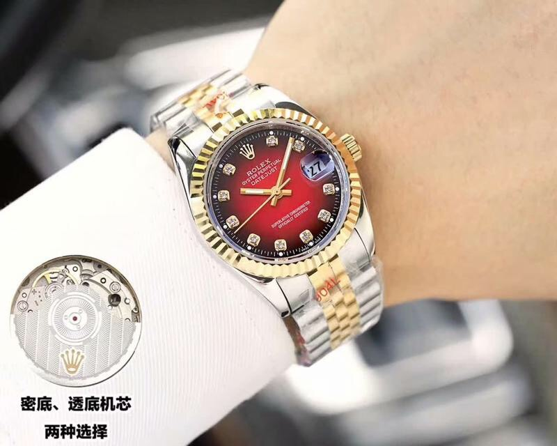 Copy Rolex Datejust D-Red Dial 2-Tone Gold Watch