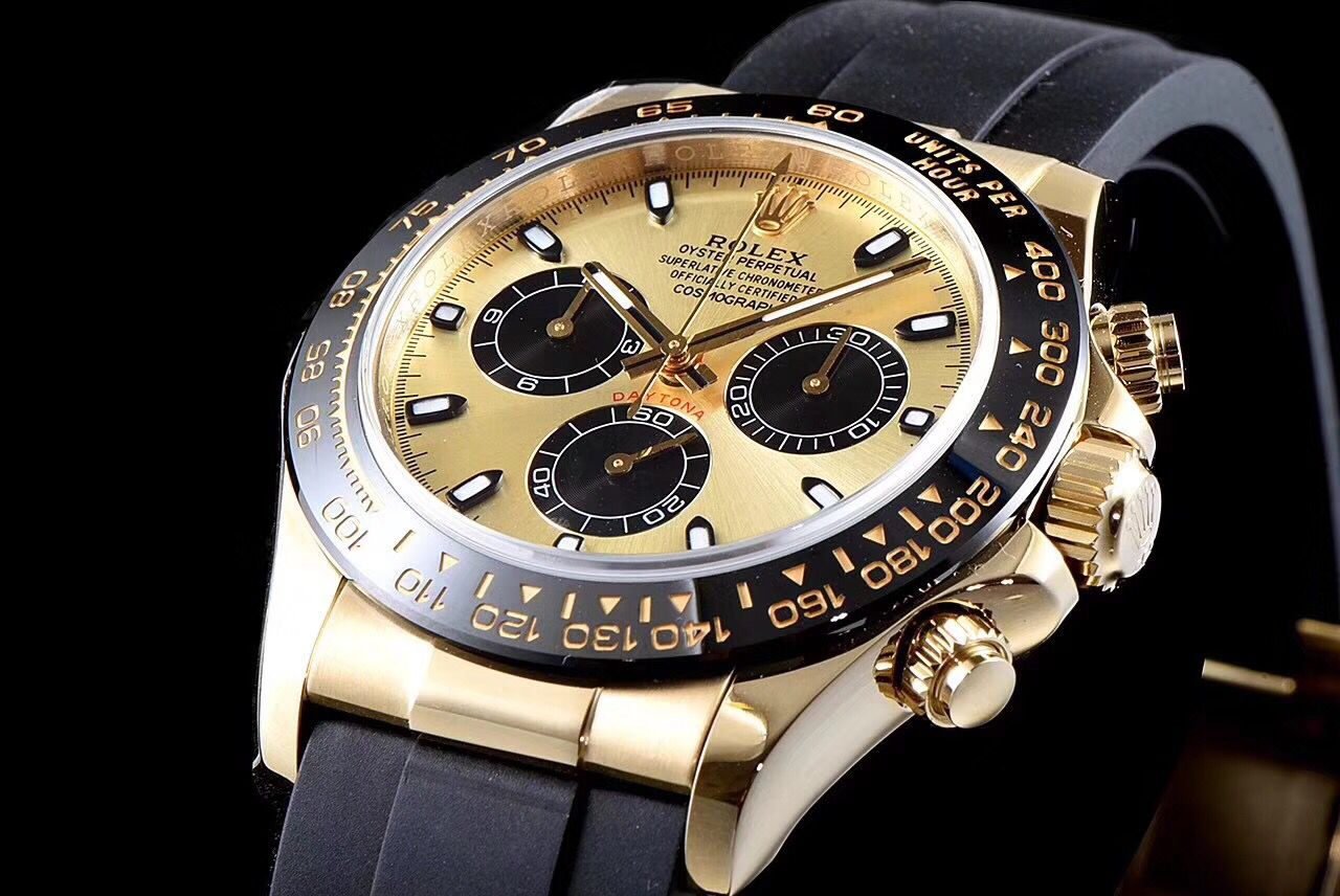 Copy Rolex Gold Dial Black Bezel Gold Case Black Band Watch