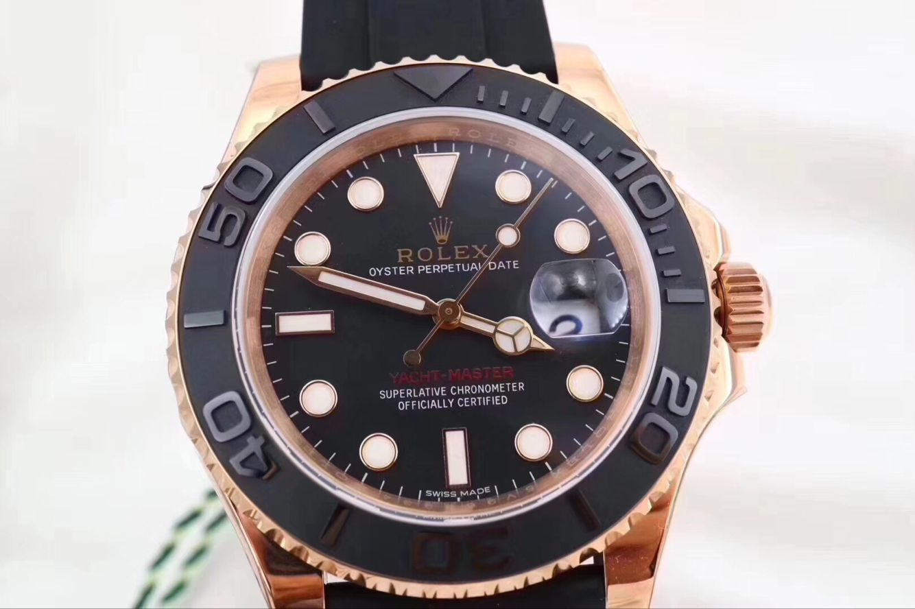 Copy Rolex Black Dial Rose Gold Case Black Rubber Band Watch
