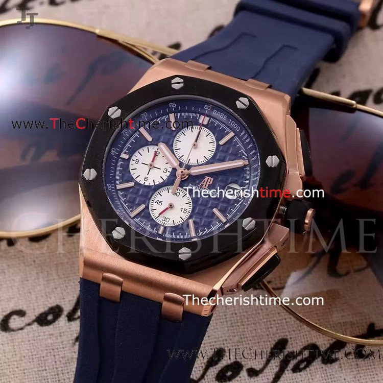 Copy Royal OakOffshore Audemars Piguet Blue Rubber Mens watch