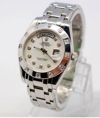 Rolex Day-Date Pearlmaster SS White Face Diamond Copy Men Watch