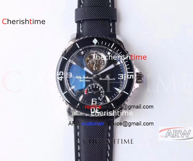 Fake Blancpain Black Dial Black Bezel Black Nylon Swiss Watch