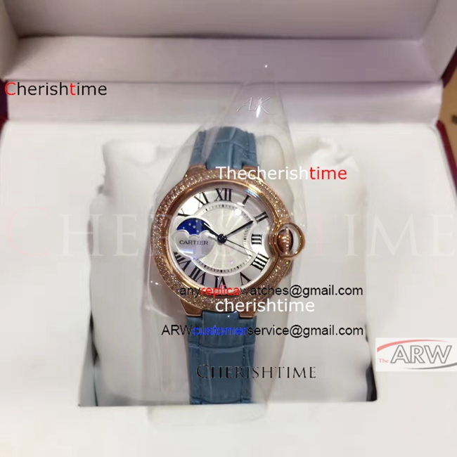 Fake Cartier White Dial Blue Leather Strap Rose Gold Watch