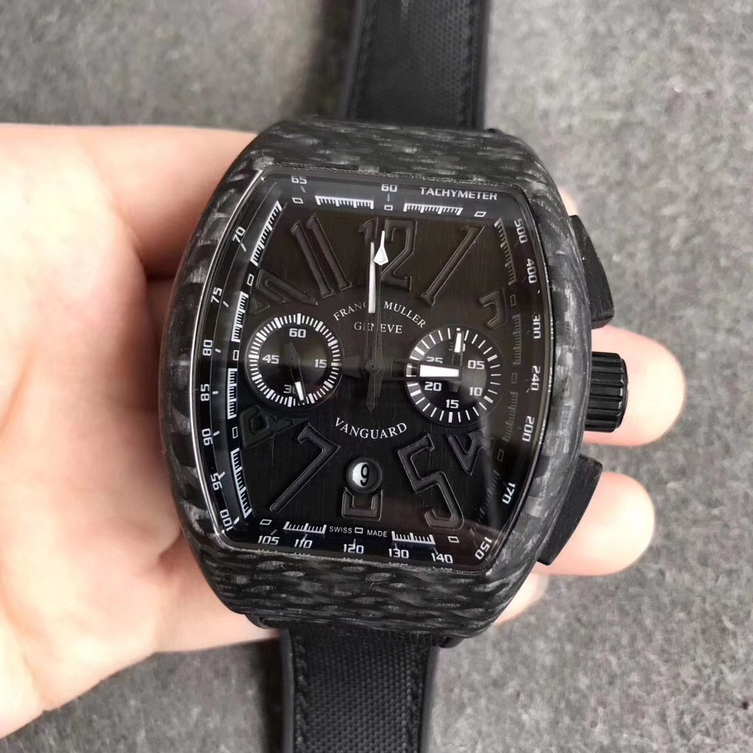 Fake Franck Muller All Black Carbon Fiber Swiss Watch