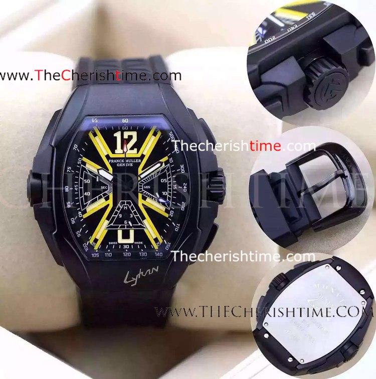 Fake Franck Muller Black Case Black Rubber Watch