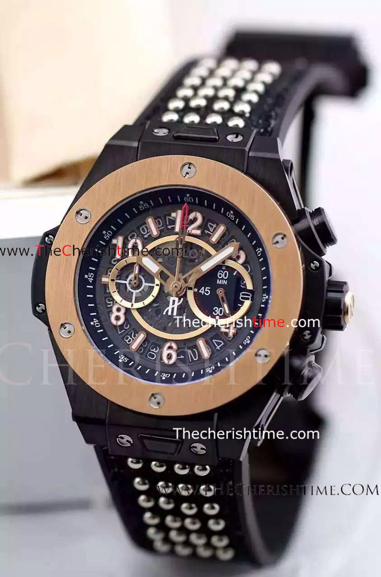 Fake Hublot King Power Black Case Rose Gold Bezel Watch