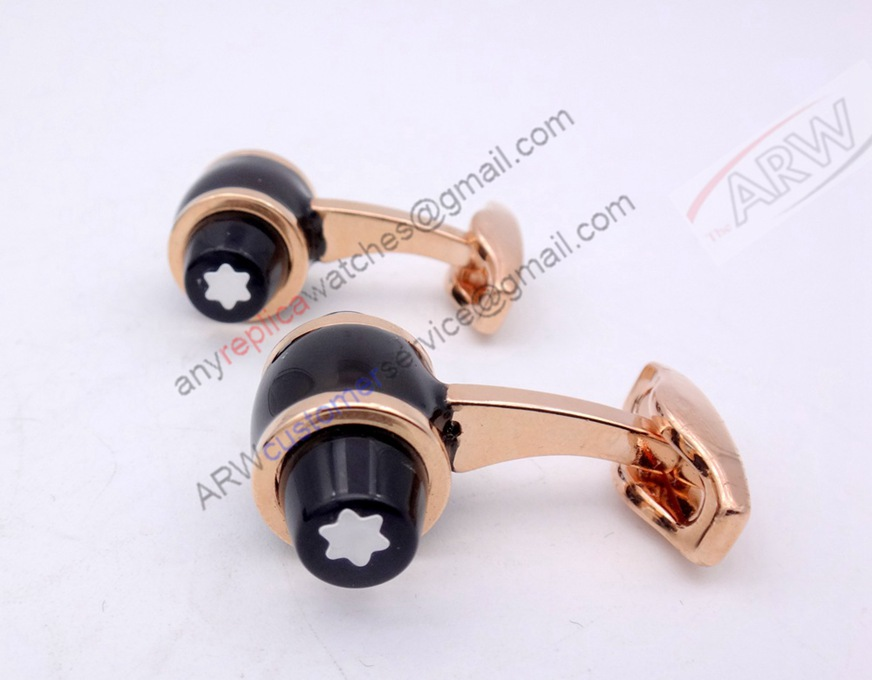 Fake MontBlanc Floating Stars Cufflink Rose Gold & Black Cufflin