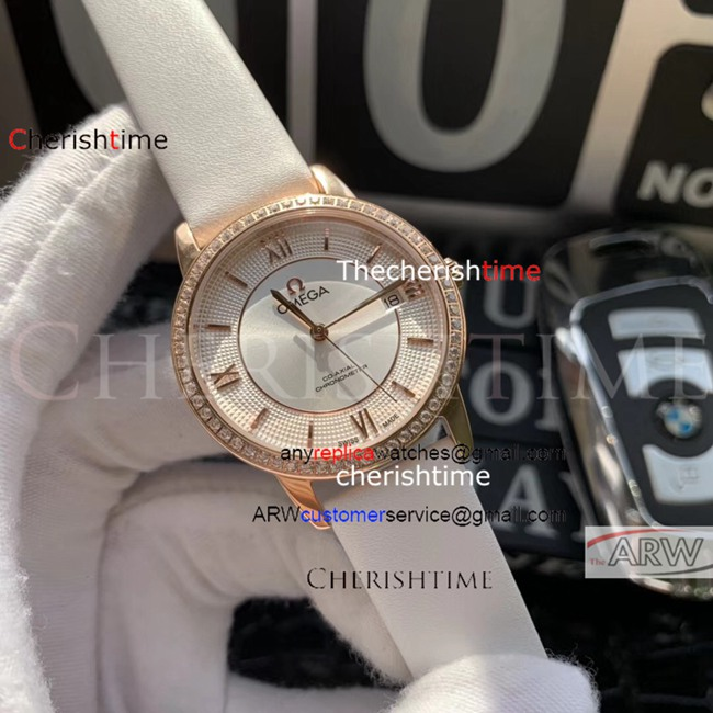 Fake Omega White Dial White Leather Strap Rose Gold Swiss Watch