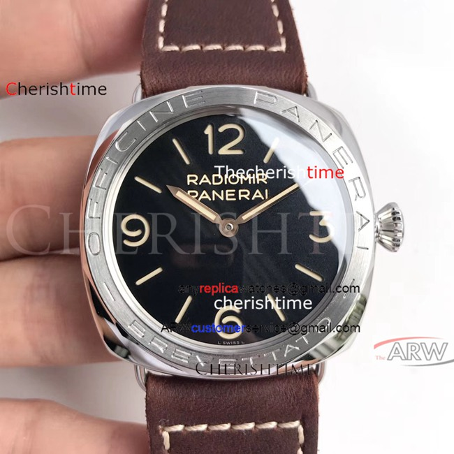 Fake Panerai Black Dial Brown Leather Strap Swiss Watch