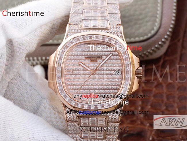 Fake Patek Philippe All Diamonds Rose Gold Case Swiss Watch