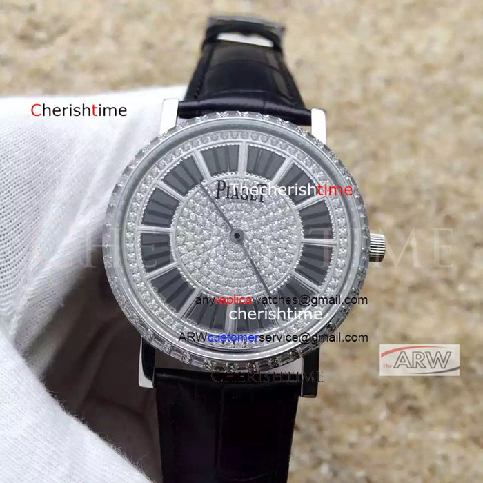 Fake Piaget Diamonds Dial Black Band 42mm Swiss 9015 Watch