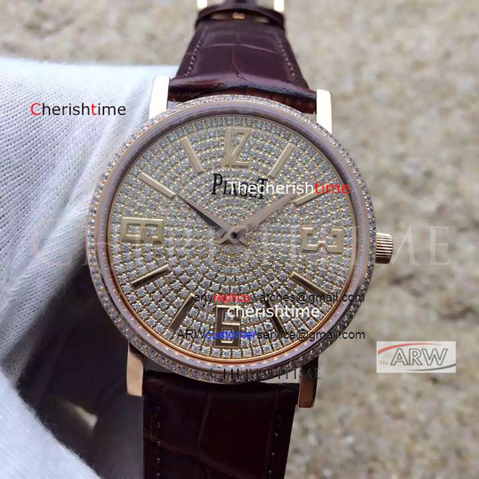 Fake Piaget Diamonds Dial Brown Band Rose Gold Swiss Watch