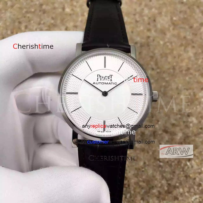 Fake Piaget White Dial Black Leather Strap Swiss 9015 Watch