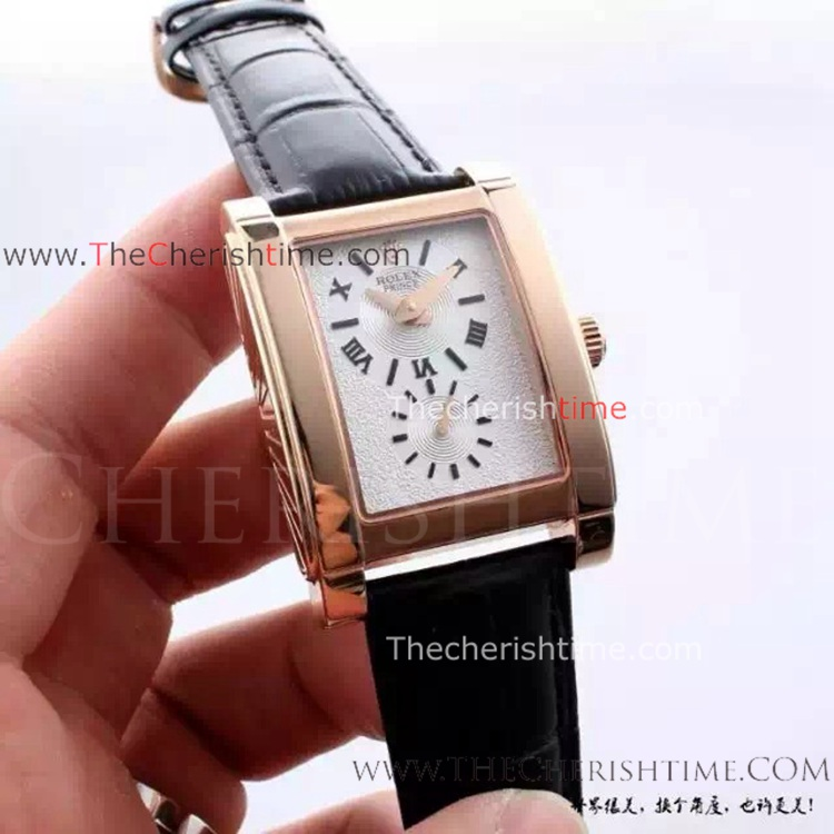 Fake Rolex Cellini Prince Rose Gold White Face Watch