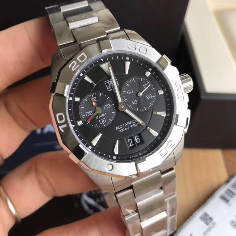 Fake Tag Heuer Black Dial Stainless Steel 41mm Swiss Watch