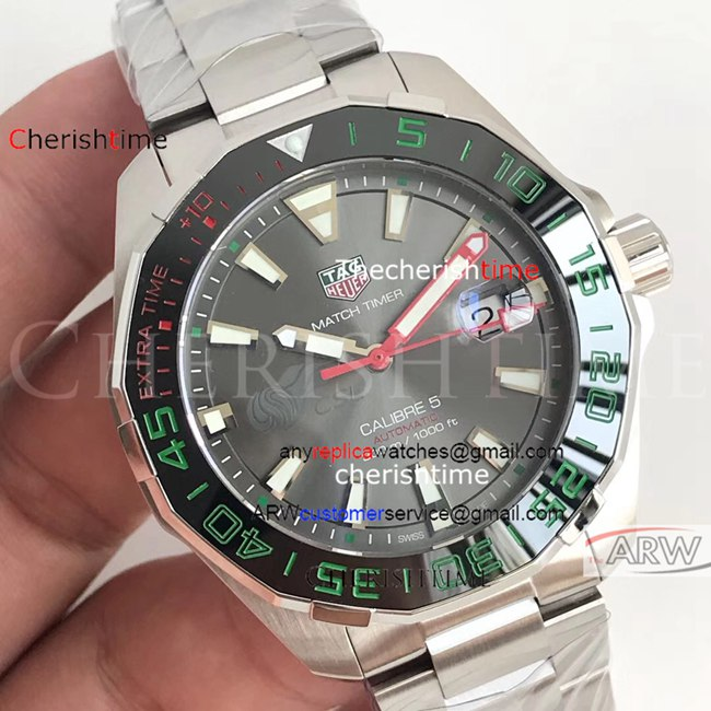 Fake Tag Heuer Gray Dial Black Bezel Green Scale Swiss Watch