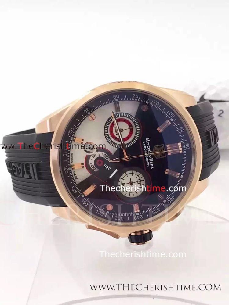 Fake Tag Heuer Mercedes benz Watch Rose Gold Rubber Band