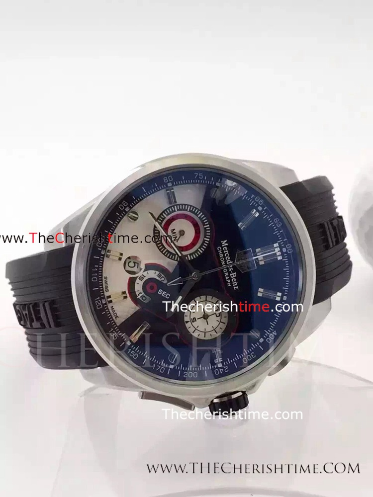 Fake Tag Heuer Mercedes benz Watch SS Black Rubber Quartz