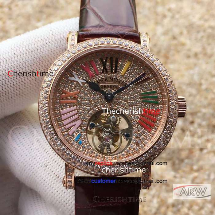 Fake Franck Muller Brown Band Diamond Rose Gold Dial Swiss Watch