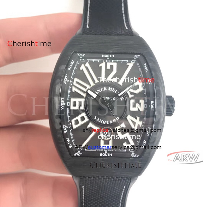 Fake Franck Muller Black Strap Carbon Fiber Case Swiss Watch