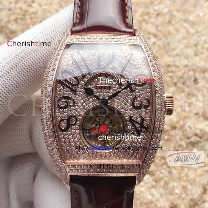 Fake Franck Muller Brown Band Diamond Rose Gold Case Swiss Watch