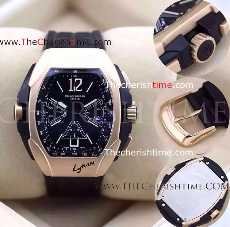 Franck Muller Rose Gold Case Black Rubber Replica Watch