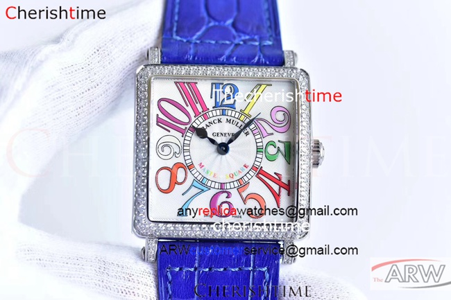 Copy Franck Muller White Dial Diamond Bezel Ladies Swiss Watch