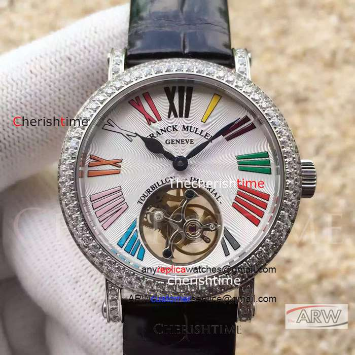 Fake Franck Muller White Dial Diamonds Bezel Swiss Watch