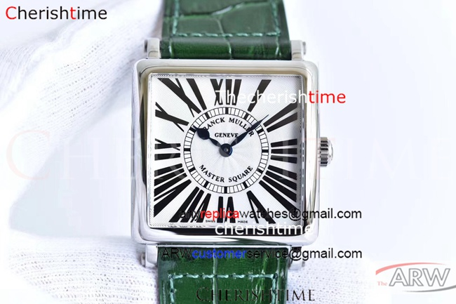 Copy Franck Muller White Dial Green Strap Ladies Swiss Watch