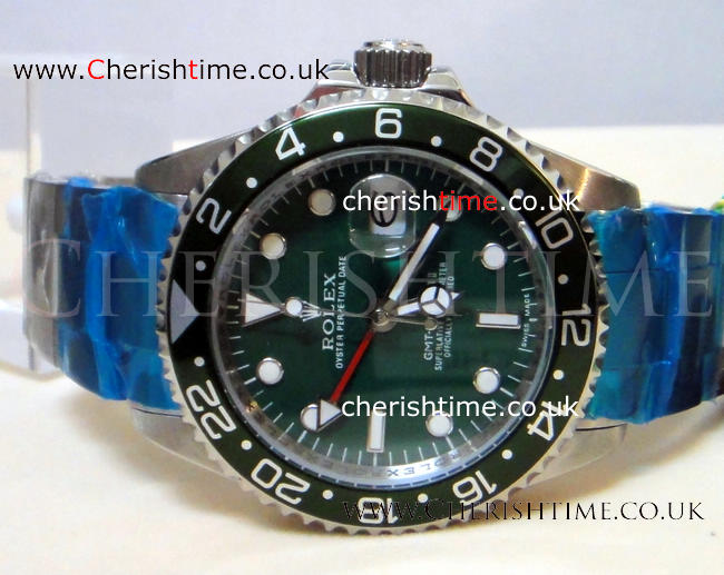 GMT-Master II Stainless Steel Green Face Mens Watches