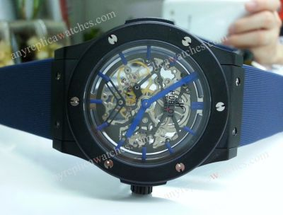 HUBLOT Blue Skeleton Tourbillon w/ Blue Rubber strap