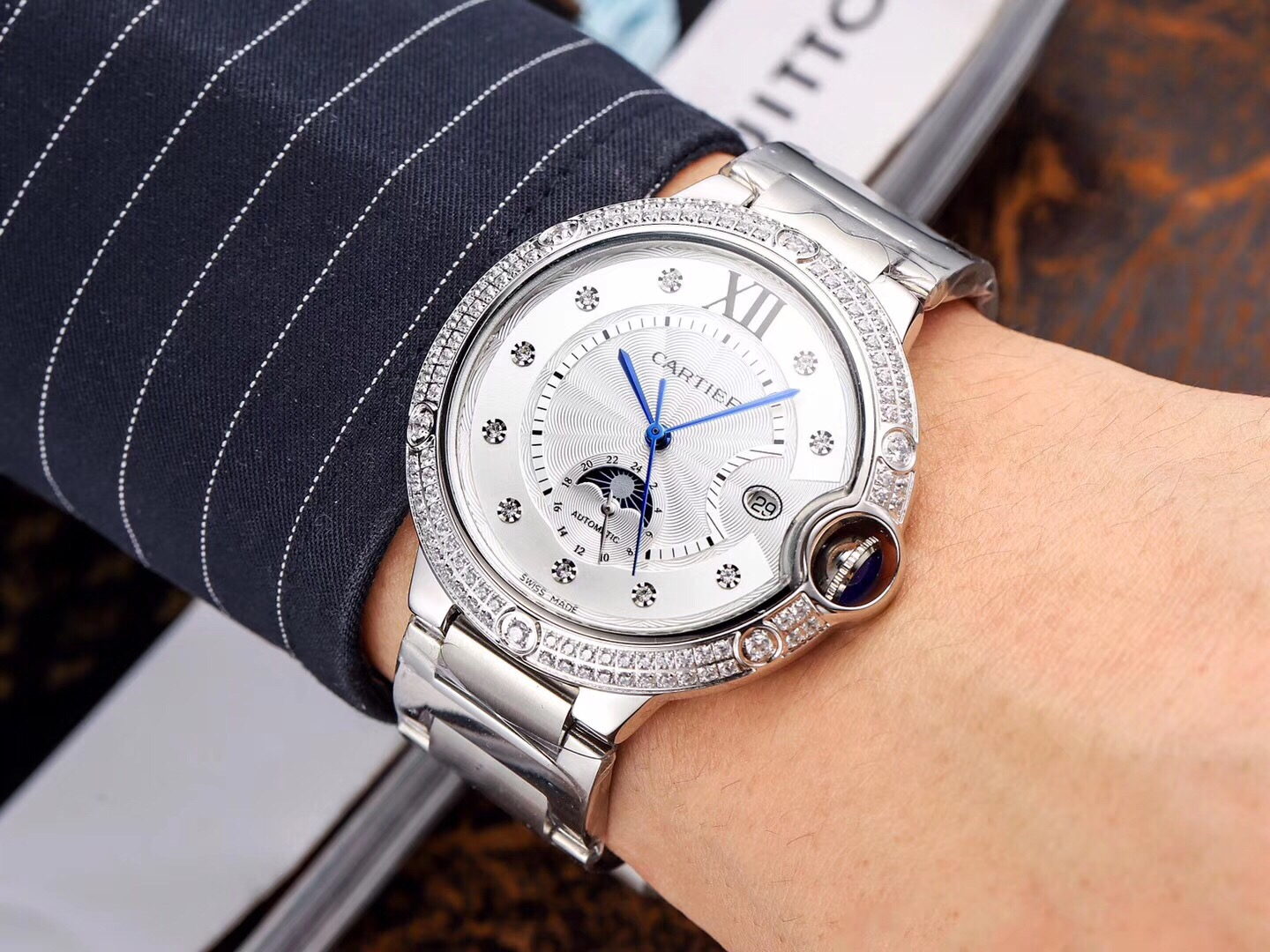 High Copy Cartier Silver Dial Stainless Steel Watch