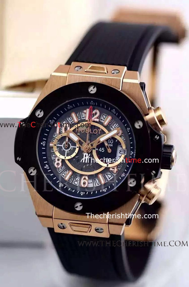 Hublot KING POWER Rose Gold Case Rubber Replica Watch
