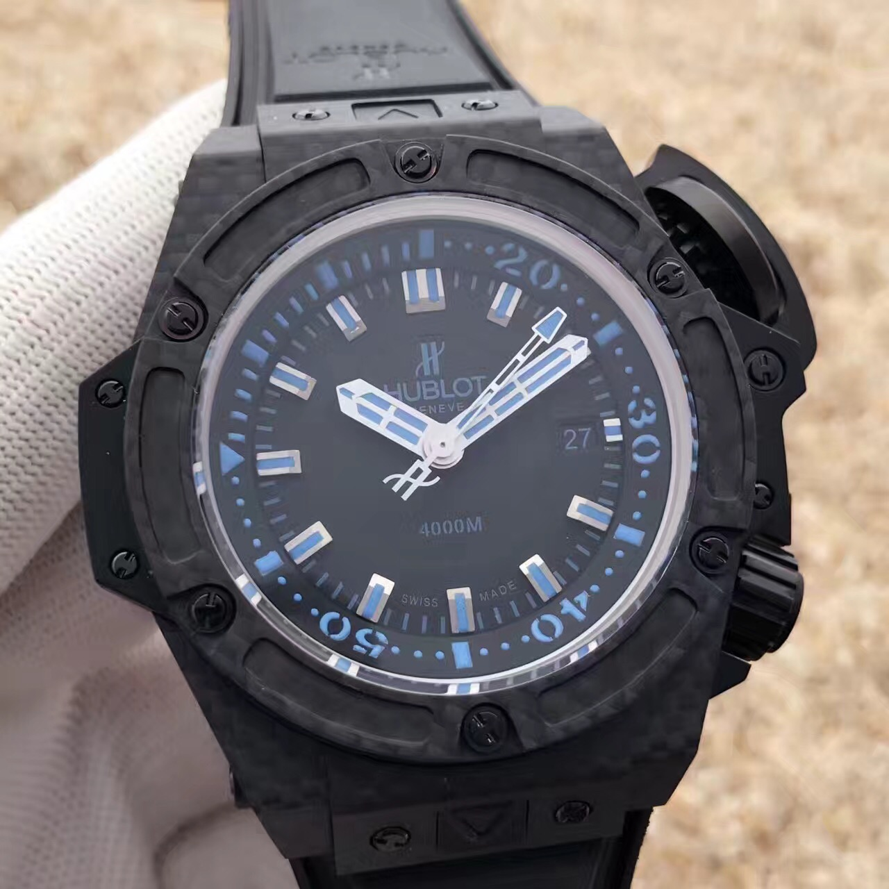 Replica Hubolt Blue Dial Black Case Swiss 48 mm Watch