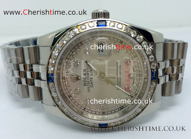 SS Jubilee Rolex Datejust Watch White / Blue Diamond Bezel Men W