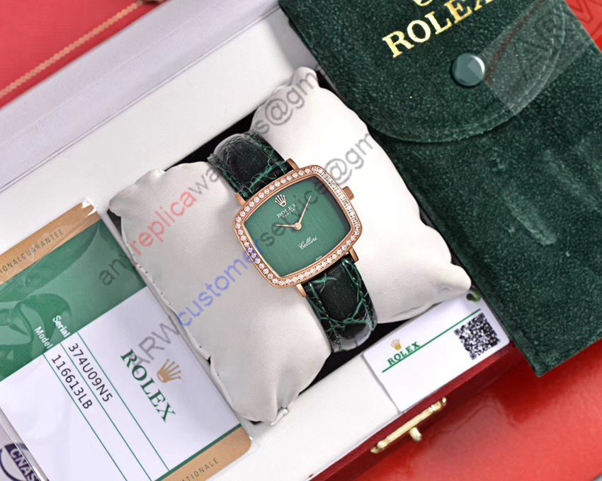 Best New Replica Rolex Green Dial Black Leather Strap Watch