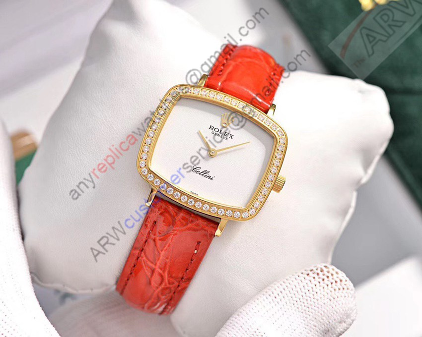 Best New Rolex White Dial Red Leather Diamond Bezel Watch
