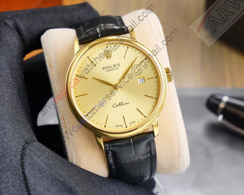 Replica Rolex Cellini Gold Bezel Gold Dial Black Leather Watch